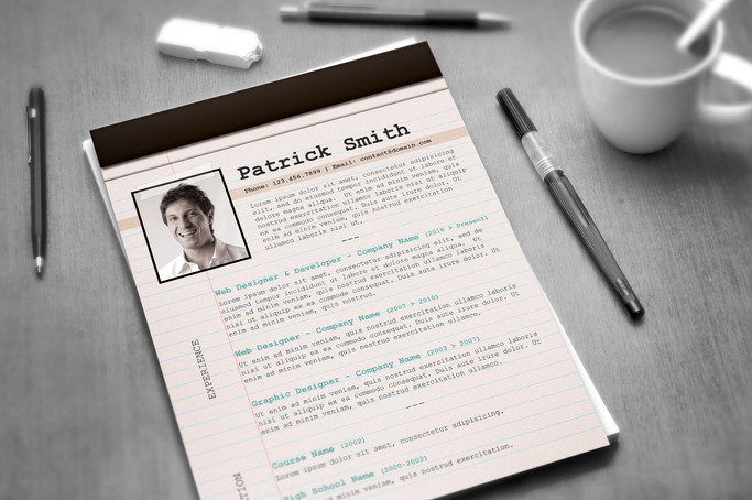 creative resume template notepad format